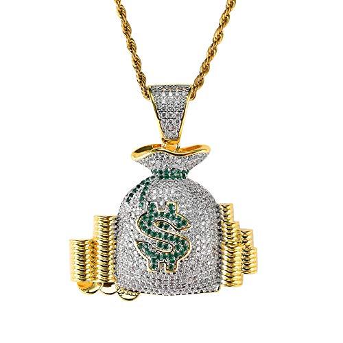 ar Symbol Geld Tasche Anhänger, Kupfer eingelegten Zirkon Hip Hop Flut Halskette Schmuck, Modeschmuck Geschenk, Männer und Frauen Stil, Metallic ()