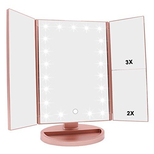 Schminkspiegel mit Beleuchtung, faltbarer Kosmetikspiegel mit 3X/2X/1X Vergrößerung, 21 natürliche LED Lichter und Touchscreen Schalter, Batteriebetrieben order USB aufladen dimmbarer - Gesichts-licht-schalter