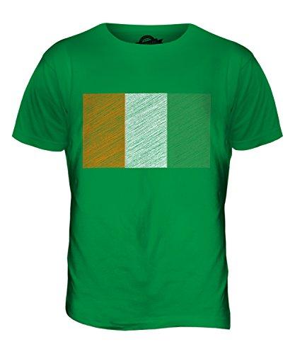 CandyMix Elfenbeinküste Kritzelte Flagge Herren T Shirt Grün