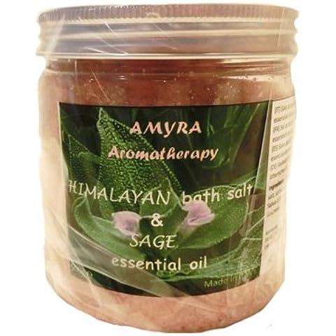 Sale dell'Himalaya & Salvia Aromatherapy - sale da bagno con olio essenziale di salvia
