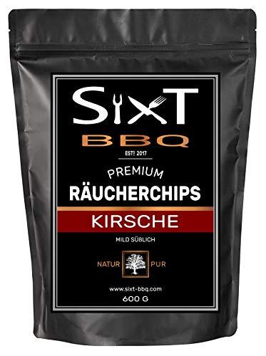 Sixt-BBQ I Räucherchips Kirsche Premium I Wood-Chips für Kugel-Grill & Barbecue, Raucharoma durch Holz-Späne I 100% natürlich milder Geschmack, für Gas/Smoker/Kohle-Grill I 600g