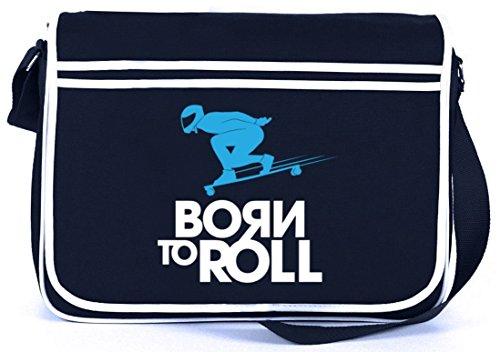 Longboard - Nato Per Rotolare, Skateboard Retro Messenger Bag Messenger Bag Navy