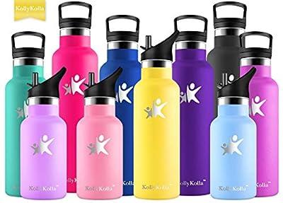 KollyKolla Vakuum-Isolierte Edelstahl Trinkflasche, BPA-frei Wasserflasche mit Filter - 350/500/600/750ml, Thermosflasche für Kinder, Mädchen, Schule, Kindergarten, Sport, Wandern, Camping, Outdoor