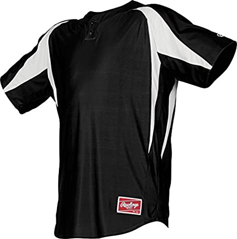 Rawlings Youth 2-Button Jersey with Inserts, 2X, Black