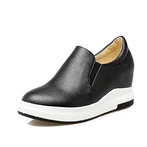 Senhoras Elegantes Planalto Deslizamento Leve Antiderrapante Plana Cunha Do Calcanhar Com Baixos Sapatos Pretos