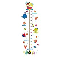 gaeruite Height Wall Sticker for Room Wall Decoration, Growth Chart Rocket Pattern and Cute Kitten Cartoon Height Stickers for Children