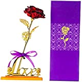 Golden Red Rose with Love Stand Gift Box Artificial 24k Red Rose Flower for Girlfriend/Wife/Boyfriend Red Rose for Valentine