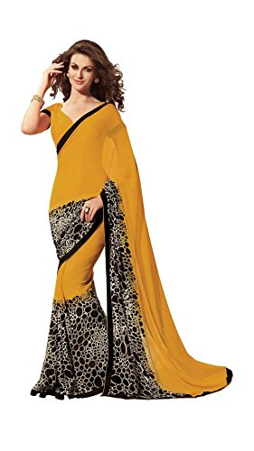 Vipul Women's Branded Yellow & Black Casual Wear Half And Half Printed Georgette Saree (Best Gift For Mummy Mom Wife Girl Friend, Exclusive Offers and Sale Discount)  available at amazon for Rs.207