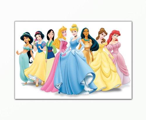 BERGER DESIGNS - Kinderbild (Disney_HD_Princess-40x60cm) Bild auf Leinwand als Kunstdruck mit Rahmen aus Holz. Bild Motiv (Disneyland Prinzessinnen international).100% Made in Germany. (Disney Princess Sofa)