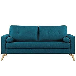 IBRA Canape droit fixe 3 places - Tissu bleu - Scandinave - L 181 x P 86 cm
