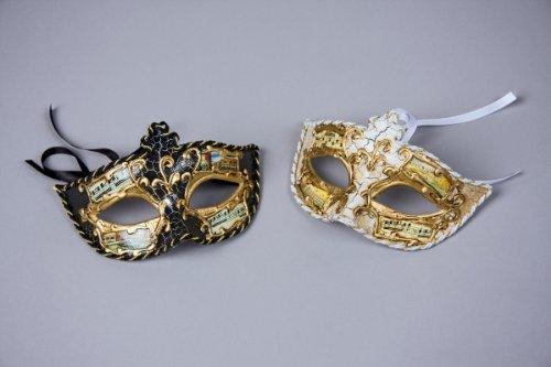Venezianische Ornament Augenmaske schwarz-gold Einheitsgröße (Karneval In Venedig Kostüme)