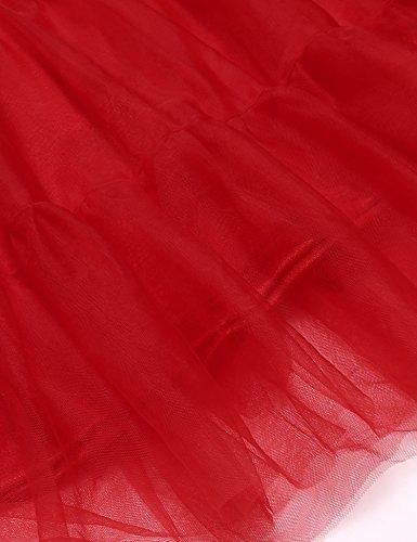 Chigant Damen Petticoat Unterrock mit Breitem Gummiband Tüll Reifrock für Vintage Retro Rockabilly Kleid Partykleid Abendkleid (Schwarz,Weiß,Rot) Rot