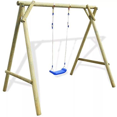 tidyard Outdoor Schaukel Holz für Garten | Schaukelgestell Holz | Gartenschaukel | Kinderschaukel | Schaukelgerüst aus Imprägniertes Kiefernholz Kinder-Schaukel Belastbar bis 50 kg