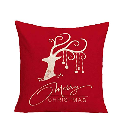 Kakiyi Happy Christmas Deer weiche Leinen 45x45cm Wurf Cartoon-Muster Sofa Wohnkultur Kissen- - Deer Dekorative Kissen