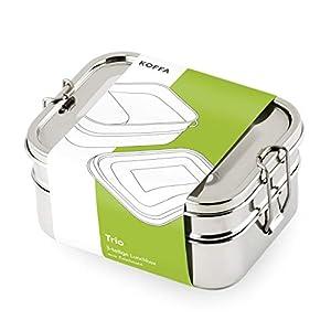 KOFFA Trio | Edelstahl Brotdose mit 3 Fächern | Umweltfreundliche Lunchbox ohne Plastik & BPA | Große Brotbox für Kinder und Erwachsene