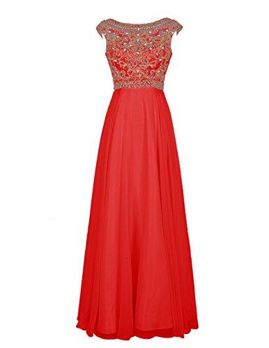 Bbonlinedress Robe de cérémonie Robe de demoiselle d'honneur forme empire emperlée longueur ras du sol Rouge
