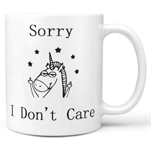 O3XEQ-8 11 oz Sorry I Don't Care Wasser Kaffee Tasse mit Griff Porzellan Personalized Tasse - Lustige personalisierte Hund Urlaub Weihnachten, Geeignet für white3 330ml