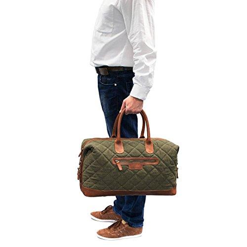 DRAKENSBERG Kimberley Air Traveller, borsa da viaggio, compatto, bagaglio a mano, borsone, bagaglio, tela, canvas, pelle, vintage, lussuosamente, verde oliva, marrone Verde oliva