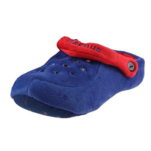SAMs Tier Hausschuhe Herren Pantoffel Clogs Plüsch Blau Schlappen bequem und warm, TH-CBR Rot