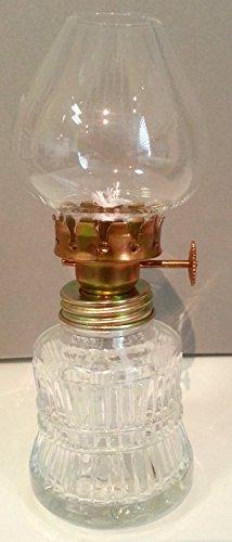 Lampada ad olio, lampada a petrolio in stile antico, riempibile, con base in vetro trasparente,con decorazioni dorate, stoppino colorato, con supporto in ottone soffiato, altezza circa 14,5 cm, Oberstdorfer Glashütte