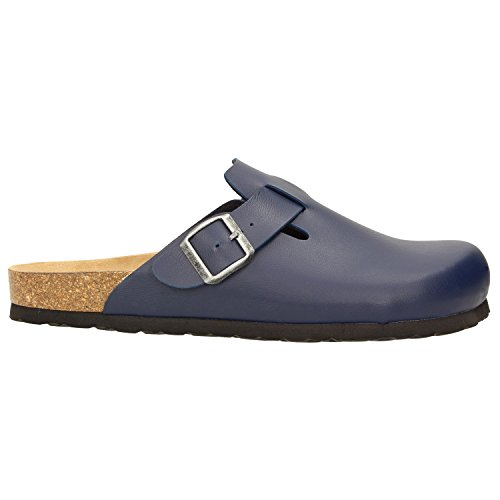 Zweigut Hamburg- Komood #394 Hausschuhe Herren Pantolette Bio Schlappen Clogs Leder Komfort Fußbett Puschen Pantoffeln Latschen Nachtblau