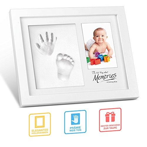 Abdruck Baby, multifun Fußabdruck Handabdruck Set Bilderrahmen mit Namen Gipsabdruck Stempelkissen Rahmen für Fussabdruck mit ungiftigem Lehm für Neugeborene, Geburt Taufe Babyparty Geschenk