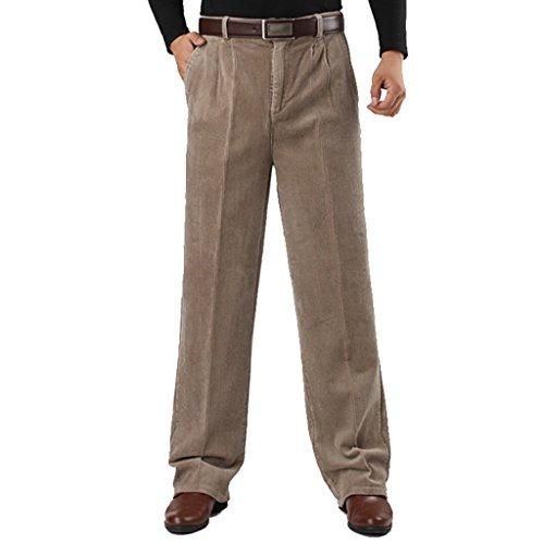 ZKOO Homme Loose Pantalons en Velours Epais Chaud Pantalon Droit Cotelé en Coton Automne et Hiver (Sans Ceinture)