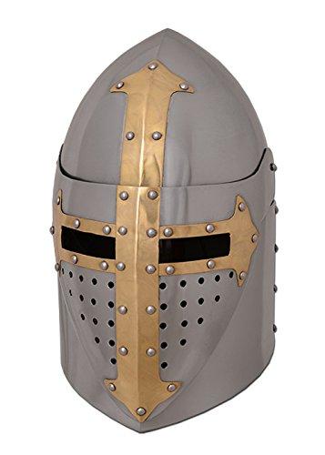 Battle-Merchant Topfhelm mit klappbarem Visier, 1,6 mm Stahl, poliert Mittelalter Helm -