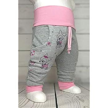 Baby Pumphose mit Tasche Hafenkitz Hellgrau Rosa handmade Puschel-Design