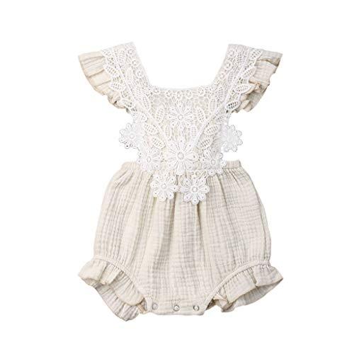 (LEXUPE Baby Mädchen, Neugeborenes Baby MäDchen Spitze Floral Strampler Body Sleeeless Kleidung Outfits)