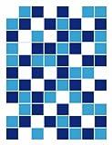 FoLIESEN Fliesenaufkleber für Bad und Küche - 15x20 cm - Mosaik blau-weiß - 39 Fliesensticker für Wandfliesen