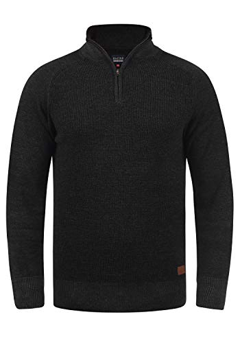 Blend Ganbolf Herren Winter Pullover Strickpullover Troyer Grobstrick mit Reißverschluss, Größe:M, Farbe:Charcoal (70818)