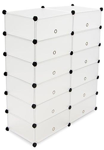 Modularer Schuh Steckschrank - Weiß ca. 108 x 92 x 38 cm - Zuklappbare Aufbewahrungsboxen für Schuhe, Kleidung - Grinscard