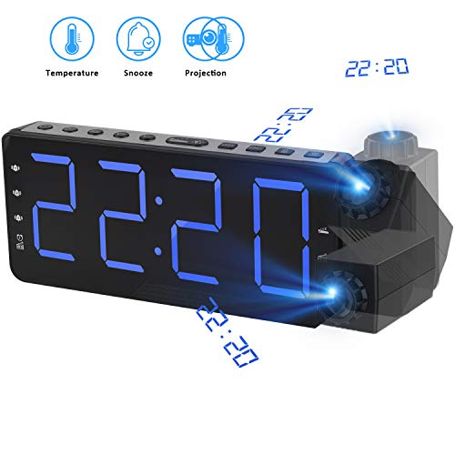 Proyección Reloj Despertador con Indicador de temperatura, Digital FM Radio Reloj Despertador radio reloj despertador USB Puerto de carga con función de repetición regulador Gran pantalla