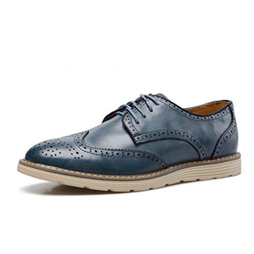 Minitoo Men's Casual et en cuir à lacets-Oxford-Bottes Chukka Chaussures de travail Bleu - bleu