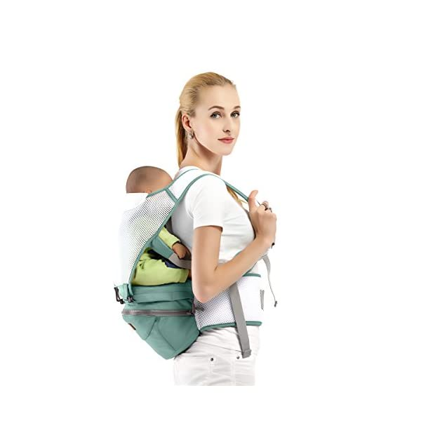 SONARIN 360°Breathable Premium Hipseat Baby Carrier, Ergonomic, Mummy Bag,100% Cotton, Breathable mesh Backing, Cozy & Soothing for Babies,100% Guarantee and Free DELIVERY,Ideal Gift(Green) SONARIN Applicable age and Weight:0-36 months of baby, the maximum load: 36KG, and adjustable the waist size can be up to 45.3 inches (about 115cm). Material:designers carefully selected soft and delicate 100% cotton fabric. Resistant to wash, do not fade, Inner pad: EPP Foam,safe and no deformation.360 ° all-round breathable, to the baby comfortable and safe experience. Description: patented design of the auxiliary spine micro-C structure and leg opening design, natural M-type sitting.Thickening 30mm sponge soft filling, effectively relieve Mommy abdominal force. 3D honeycomb hollow network, summer do not have to hot. 5