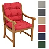 Beautissu Garden Chair Cushion Flair NL 100 x 50 x 8 cm Seatpad & Backrest with Soft Foam Flake Padding Red