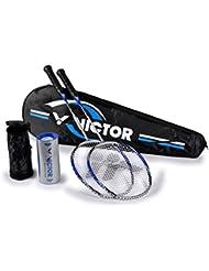Victor raqueta de bádminton Atomos 600–Set de bádminton 2x, Racketbag, 3x Nylon Ball, Plata/Azul, 67,5cm, 099/6/7