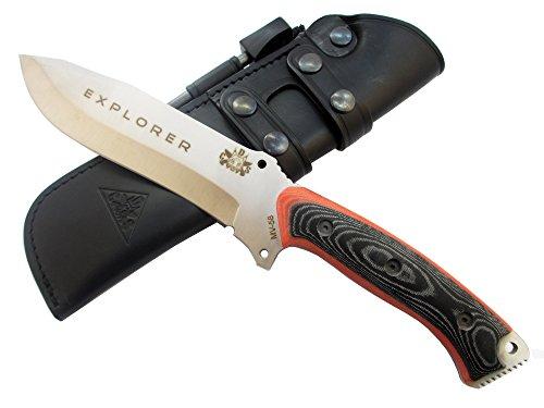 EXPLORER Outdoor / Survie / Couteau de chasse - Lame inox MOVA-58 avec étui de transport en cuir. Allume feu (firesteel) incluse. Fabriqué en Espagne.