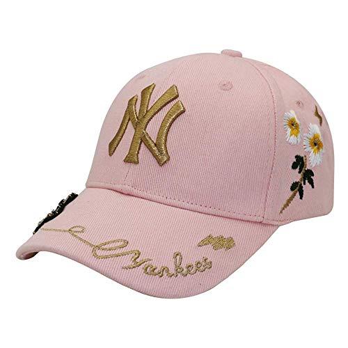 Koreanische Version Kleine Biene Baseballmütze Weibliche Flut Marke Ente Zunge Kappe Hut Stickerei Schwarz Und Weiß Rosa Sommer Sonnenhut Kappe Hut Kappe Mountr (Color : Pink) (Weibliche Kostüm Biene)