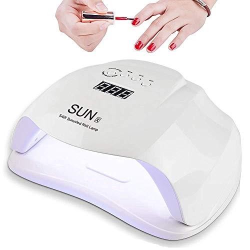lampada led unghie uv per gel unghie semipermanente 54w automatico sensore, unghie gel semipermanente uv led nail lamp portatile con 36 lampadine, sensore automatico e 4 timer preimpostati
