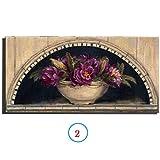 WYKUN Rahmenlose dekorative Gemälde, 100% handgemalte Einzelwandbilder für Wohnzimmer Blumen, Moderne minimalistische Ölgemälde Leinwand Wandkunst,Flower 2_12in*24in