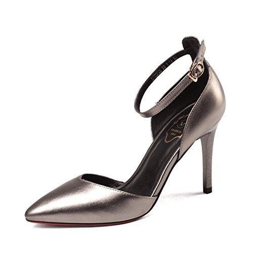 spring fashion Lady shoes/Hauts talons bouche peu profondes/Chaussures de banlieue avec boucle de ceinture à baotou B