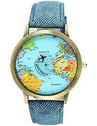 Omeny 1 Pc World Map reloj de tela de mezclilla Watch Regalo de cuarzo (azul