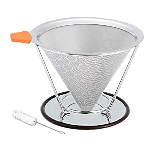 Stainless Steel Pour Over Coffee Filter with Stand, Honeycomb Design Reusable Pour Over Coffee Cone Dripper with Cleaning Brush, No Need for Paper Filters (1-3 Cups)