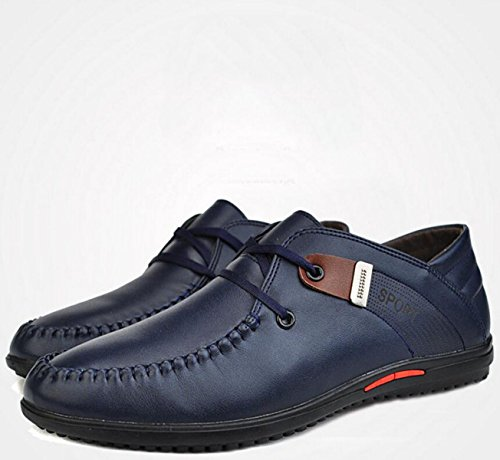 GRRONG Herren Lederschuhe Echtes Leder Freizeit Atmungsaktiv Schwarz Braun Blau Blue