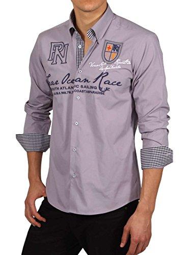 Camicia a maniche lunghe taglio moderno maschile PONTTO in grigio Grigio