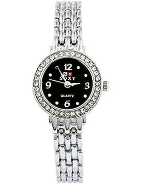 MJartoria Damen Armbanduhr Quarz Uhr Modeschmuck Edelstahl Band Mode Design Schwarz