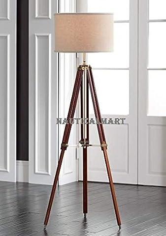 Cherry Finish Tripod Floor Lamp Stand By Nauticalmart