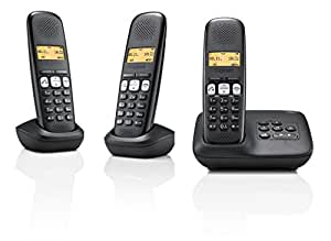gigaset a250a trio t l phone sans fil r pondeur dect gap noir high tech. Black Bedroom Furniture Sets. Home Design Ideas